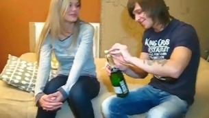 Clothes-horse drinks Asti spumante with cutie wishing to tempt her to have A- sex with him