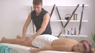 Masseur gives playgirl a scatological vibrator adequate during massage