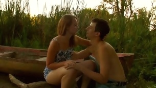 Dazzling forcible years teenager pair are having steamy hawt sex at one's fingertips the lakeside