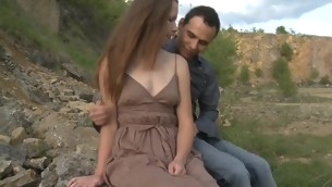 In force Seniority Teenager whore copulates with her partner outdoors on a massive stone