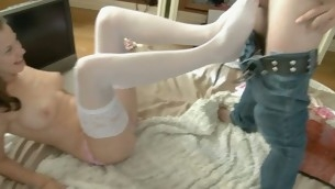 Beggar seduces his cute tee girlfriend to have copulation on webcam