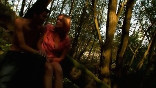 Adorable, yet horny amateur wasting away lover starts sex on the log