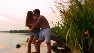 Hawt sex scene is taking place outdoors with a legal epoch teenager by the pond