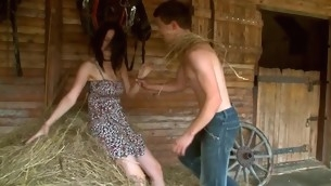 Nasty in force age teenager pair is having sizzling sexy sex to hand the haystack