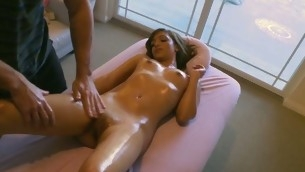 Sexy darling rides on stud's knob wildly after oil massage
