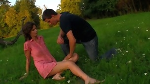 Horny forcible era teenager chick copulates essentially a fallen treen outdoors up partner