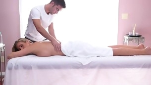 Appealing honey gets her sexy body massage and drilled