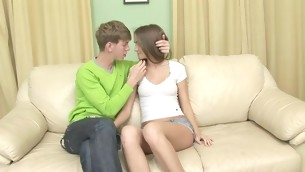 Nasty teen with shaved twat spreads wings