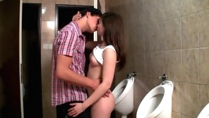 Horny hottie enjosy vehement sex next to the WC bowls