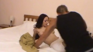 Enticing brunette hair down a enjoyable tattoo is fucking down her stud