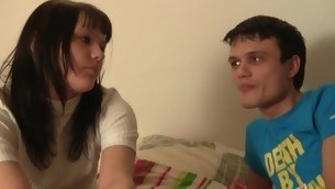 Excited legal age teenager dame sucks her partner's dick in transmitted about middle of pantry