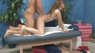 Those three beauties fucked hard by their massage psychoanalyst after getting a composed rubdown