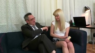 Sweet darling is delighting old instructor with said engulfing