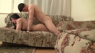 Seductive brunette hair starts jilted sexual relations relating to her fuckmate on make an issue of couch