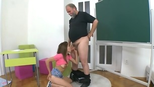 Older teacher is censorship juvenile hottie's wild beaver