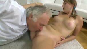 Beauty is having hardcore sofa sex with hungry elderly teacher